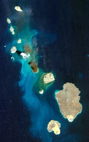 A WorldView-2 optical satellite image of the entire Zubair archipelago showing the 2013 Jadid eruption.