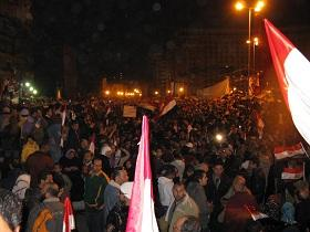 Egyptians celebrated into the early hours of dawn at news of President Mubarak stepping down.