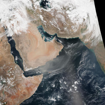 Persistent dust storms over the southern Arabian peninsula.