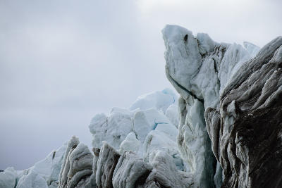 The calving front of the retreating Blomstrandbreen on Spitsbergen, Arctic.