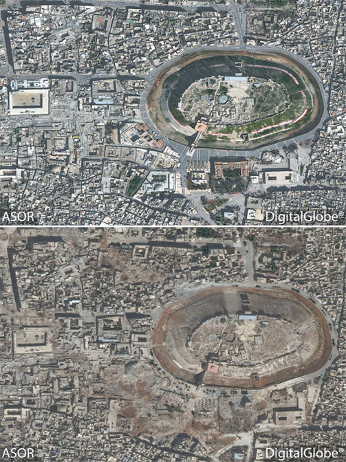 An image of part of the World Heritage Site of Aleppo showing the area around the citadel from March 2012 (above) and after years of raging conflict.