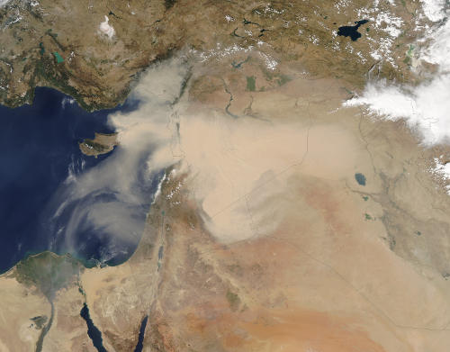 The September 2015 Middle East dust storm as observed by the Moderate Resolution Imaging Spectroradiometer (MODIS) satellite.