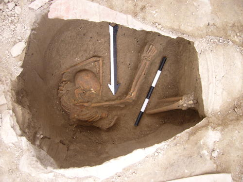 Large jar burial containing the remains of one of the individuals sequenced in the study.