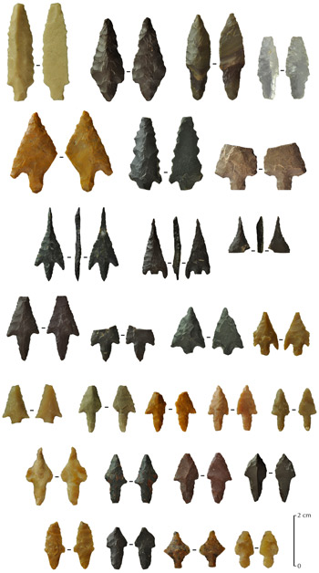Stone tools excavated from the Arabian Peninsula.