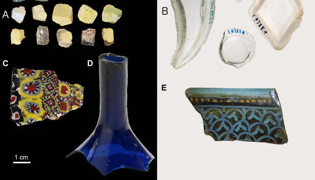 Glass artefacts from Samarra, including a range of vessel types, optical properties, and decorative techniques.