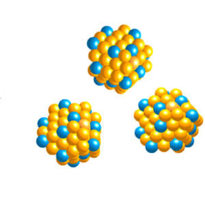 Nanoparticles can be assembled with a variety of structures to exploit the catalytic power of individual platinum atoms on the nanoparticle surface (yellow = gold, blue = platinum).