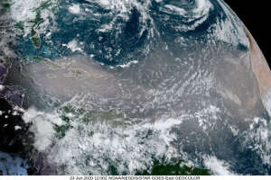 Satellite image of the June 2020 dust storm spreading from West Africa across the Atlantic.