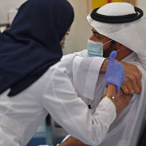 Saudi Arabia's Health Minister, Tawfiq al-Rabiah, received the COVID-19 vaccine in Riyadh in December 2020.