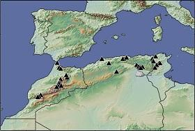 Locations used for gathering of tree rings in Morocco, Algeria and Tunisia.