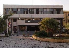 The first explosion hit a square near the faculty of architecture in the University of Aleppo.