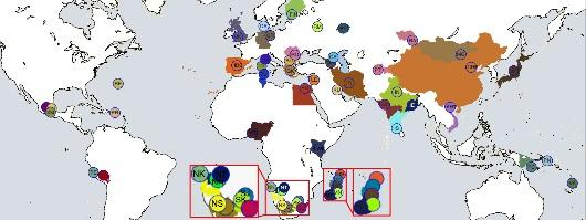 Small coloured circles with a matching colour to geographical regions represent the 54 reference points used for GPS predictions.
