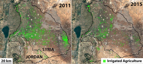 Irrigated land area in the Yarmouk River Basin in 2011 (left) and 2015 (right).