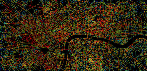 Central London is mapped to show how many streets connect to other streets. Streets in red have the most connections and those in blue the least