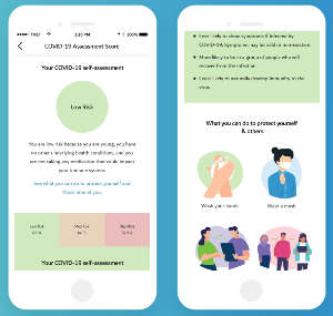 Nabta App provides COVID-19 risk and symptom assessments for women then links them to relevant content.