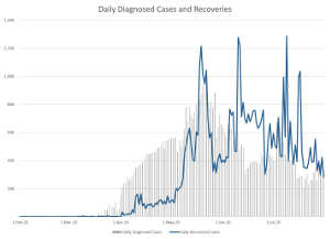 Figure 2: Diagnosed cases and recoveries in the UAE1